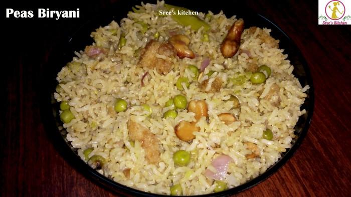 green peas biryani, biryani recipe, cooker biryani, matar biryani, peas biryani