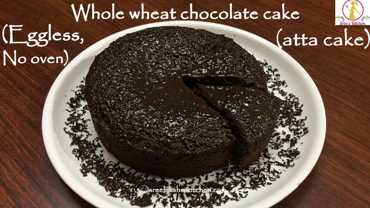 Whole wheat chocolate cake recipe | eggless chocolate cake | eggless cooker atta cake | chocolate cake recipe in pressure cooker | एगलैस चॉकलेट केक | சாக்லேட் கேக்